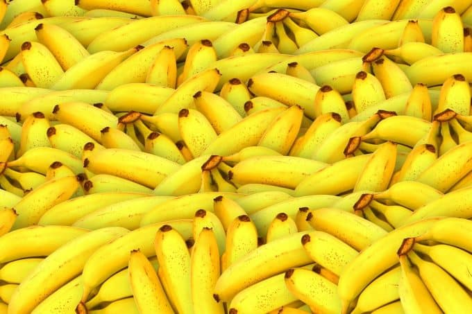 Tons of bunches of bananas all heaped together